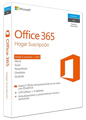 Microsoft Office 365 Hogar - Paquetes De Ofimática, 5 Usuarios/1 Año, 5Pc/Mac + 5 Tablet Sin CD