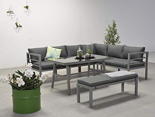 Garden Impressions Hohe Dinning Aluminium Lounge Blakes Anthrazit Rechts, inklusive XL Bank und wasserabweisender Kissen