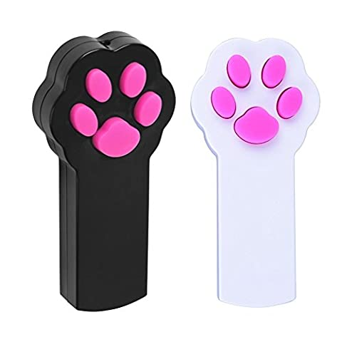 Pipitao pour animal domestique LED Pointeur Interactive lumière Paw Forme arbre à outil d'entraînement Rouge Pot de capture d'exercice Chaser jouet cadeaux pour chiens et chats, Lot de 2(Noir +