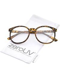 aebf1044999 zeroUV - Classic P3 Horn Rimmed Clear Lens Round Eyeglasses 53mm (Matte  Orange-Tortoise