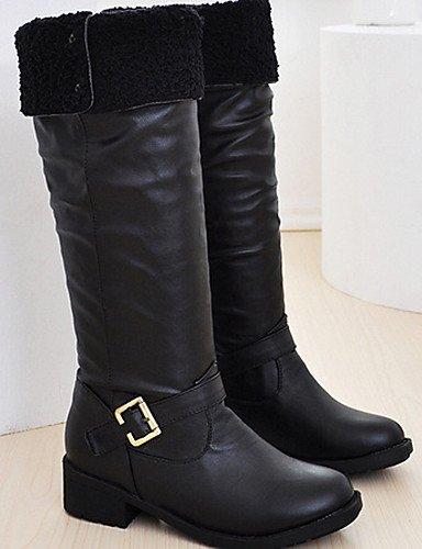 ShangYi Mode Frauen Schuhe Stiefel WINTER OUTDOOR PU Stiefel Motorrad Low Heel Schnalle Schwarz / Braun Schwarz