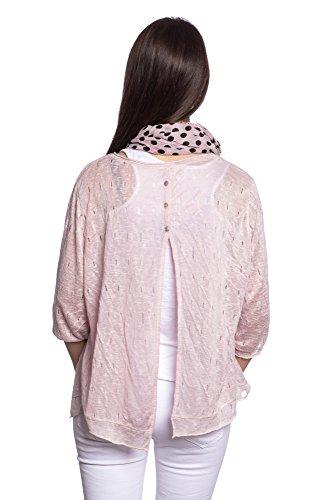 Abbino 5299 Shirt mit Tuch Langarmshirts Tops Damen - Made in Italy - 5 Farben - Übergang Frühling Sommer Herbst Damenshirts Damentops Locker Lässig Sexy Sale Freizeit Elegant Klassisch Baumwolle Rosa