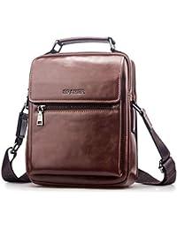SPAHER Men Leather Shoulder Bag Handbag IPAD Business Messenger Backpack  Crossbody Casual Tote Sling Travel Bag c6d743c1de1b6