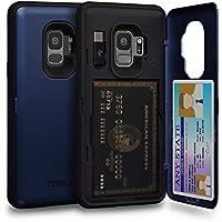 TORU CX Pro Funda Galaxy S9 Carcasa Cartera Azul con Tarjetero Oculto, Adaptador USB y