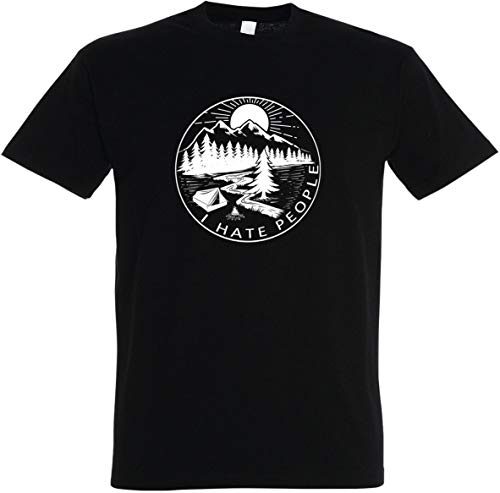 Herren T-Shirt I Hate People S bis 5XL (Schwarz, M)