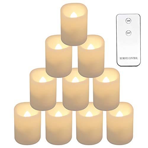 Eldnacele Flammenlose flackernde Votivkerzen, batteriebetriebenes Kerzenlicht mit Fernbedienung für den Außen- und Innenbereich CR2450 Langlebige Batterielebensdauer Warmweiß, 10er-Set Elfenbein (Kerzen Bulk Flammenlose)