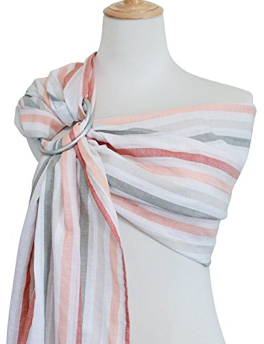 Vlokup Baby Sling Ring Sling Carrier Wrap | Extra Soft Lightweight Linen Cotton Baby Slings for Infant, Toddler, Newborn and Kids | Great Gift, Lightly Padded Adjustable Orange Rainbow