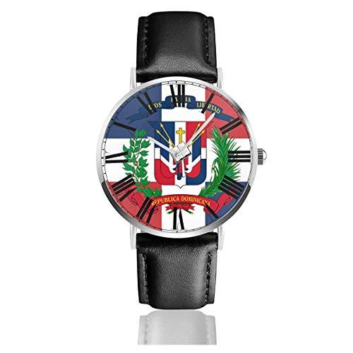 ag of Dominican Republic Herren/Damen Lederband Uhren Business Analog Quarz Wasserdicht Armbanduhr Casual Armbanduhr mit Lederband ()