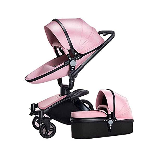 Yyqt Baby Carriage,with Buggy Top and Carrycot Travel System Feature New 2019, Stroller 2 in 1, it Includes Specifications: Eggshell Seat, Sleeping Basket, Red Seat Cushion (Color : Pink) Yyqt ♥360-degree swivel seat, high-quality leather, aluminum alloy frame (for safety reasons, the seat rotates 90 degrees and locks automatically.) If you want to turn again, turn the knob again) can be used as a cradle ♥Sports car seat: can be used in and against the direction of travel. The seat can easily be used in or against the direction of travel and a resting position in both directions is possible for a nap. ♥Cross-country stroller includes: red seat pad for babies, baby frame and eggshell chair, sleeping basket, car safety seat, 1