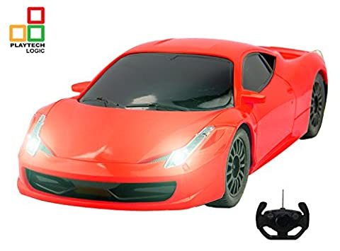 PTL® Ferrari Italia 458 Style RC Remote Control Car for Kids with Working Lights, 1:18 Electric Radio Controlled RC Cars Top Popular Best Kids Boys Girls Car Toys, PL9125 RTR 27Mhz