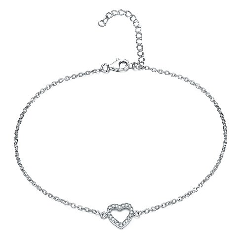 Elegant Heart ANKLET With Micro Pave AAA Zircon, STERLING SILVER Anklet / Ankle Chain / Ankle Bracelet includes Pretty Gift Box- Adjustable