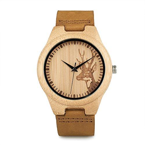 Bobo Bird Herren Bambus-Holz Armbanduhr *Rewild* in Braun mit Echtem Lederarmband Handgefertigt Quarz Analog Uhr inkl. Geschenkbox