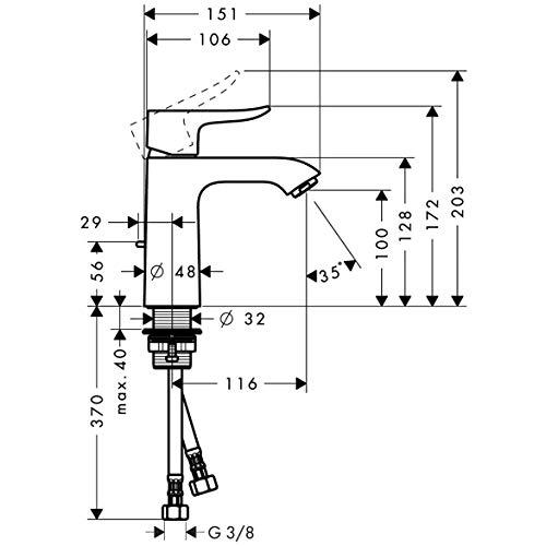 Hansgrohe – Einhebel-Waschtischmischer, Ablaufgarnitur, ComfortZone 110, Chrom, Serie Metris - 6