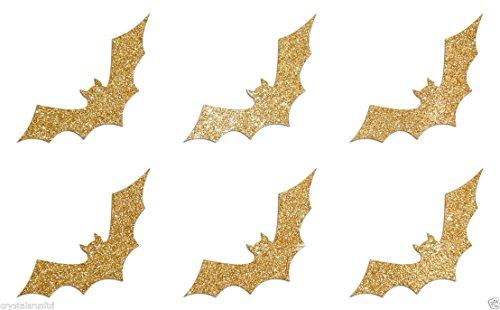 24Fledermäuse Selbstklebende Glitter-Sticker Karte machen Craft DIY 2,5cm gold