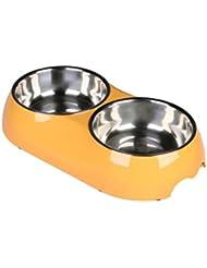LIANPINGPerro de tazones de fuente de gato colorido doble-bowl de acero inoxidable Bowl mascotas Bowl antideslizante . d .