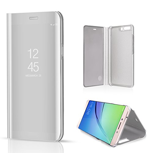 Telefon Seitentasche (Sycode Luxus Screen Protector Silber Slim Fit Clear Standing View Spiegel Hülle Beirftasche für Huawei P10-Silber Mirror)