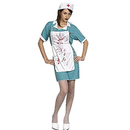 Women's Terrorist Krankenschwester für Halloween-Karneval Sie umfassen: Einteiliges Kleid + Hut + weiße Schürze (Womens Native Prinzessin Kostüm)