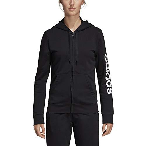 adidas W E Lin Fz HD Veste Femme, Noir/Blanc, FR (Taille Fabricant : XL)