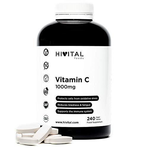 Vitamina C 1000 mg | 240 comprimidos (Suministro para 8 meses) | Reduce el cansancio y la fatiga, protege las células del estrés oxidativo, y mejora el sistema inmunológico | Apto para Veganos.