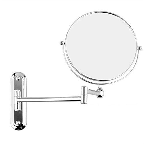 GuRun Doppel Wand Kosmetikspiegel, 7-Fach Vergroesserung und Normal,Durchmesser 15cm, verchromt M1207(15cm,7x)
