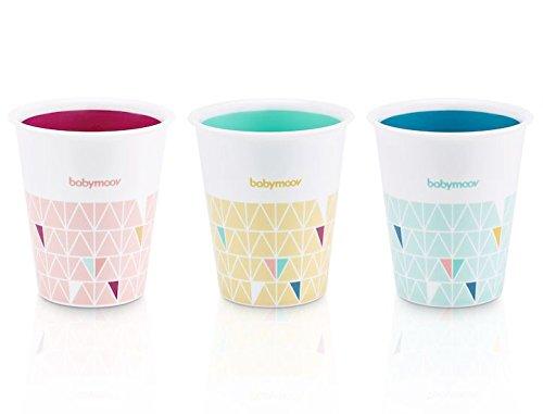 Babymoov Trinkbecher Fun Cups, 3er Set bunte Trinkbecher für Kinder, 200 ml