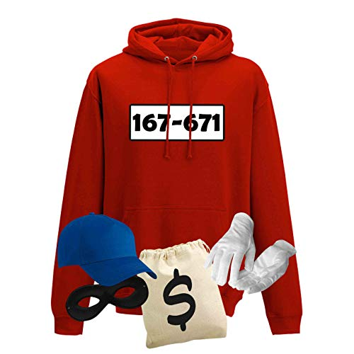 Hoodie Panzerknacker Herren Deluxe+ Kostüm-Set Wunschnummer Karneval JGA XS - 5XL Fasching JGA Party Sitzung, Größe:S, Logo & Set:Standard-Nr./Set deluxe+ (167-761/Hoodie+Cap+Maske+Hands.+Beutel