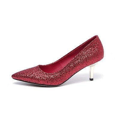LYNXL Talloni delle donne Primavera Estate Autunno Inverno Wedding sintetica di feste ed abito da sera con paillettes Stiletto Heel Nero Rosso Argento Red