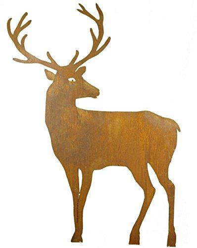 Metallmichl Edelrost Hirsch nach hinten schauend (breites Geweih) mit Stab zum Stecken 100 cm hoch Tierfigur aus rost Metall zur Gartendekoration