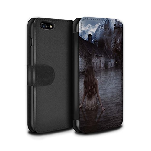Officiel Elena Dudina Coque/Etui/Housse Cuir PU Case/Cover pour Apple iPhone 8 / Ville dans Arbres Design / Fantaisie Paysage Collection Rue Inondée