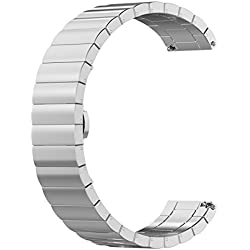 Replacement 1 Beads Stainless Steel Bands for LG LGW110 G Watch R Smartwatch (Silver)