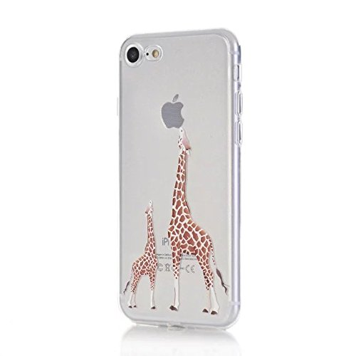 Sycode Custodia per iPhone 8,Cover per iPhone 8,Silicone Trasparente Case per iPhone 7,Liquido Cristallo Chiaro Carina Divertente Motivo Giallo Leone Morbida Flessibile Silicone Gel Anti Graffio Gomma Giraffa