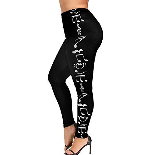smileq Fashion Frauen hohe Taille Hose Plus Größe Yoga Sport Hose Musik Note Leggings, Schwarz , xl