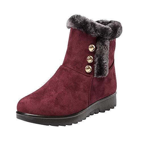 (ZHRUI Frauen Damen Winter Knöchel Martin Kurze Schneeschuhe Pelzschuhe Warme Schuhe (Farbe : Wine, Größe : 4 UK))