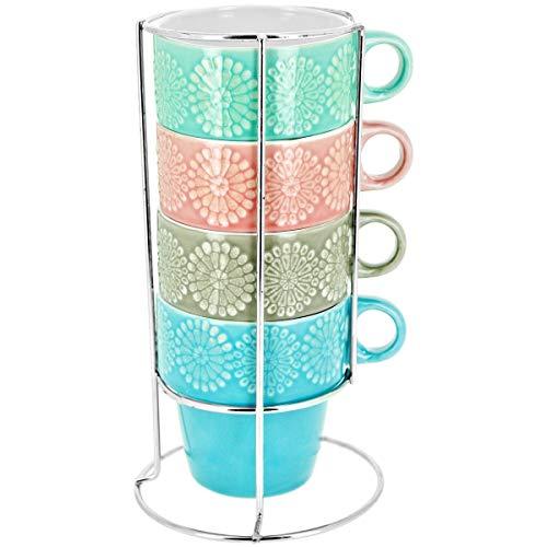 Promobo - Lot De 4 Mug Tasse A Café Avec Anse Empilable Sur Rack