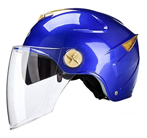 JBHURF Motorradhelm Männer Und Frauen Sonnenschutz Vier Jahreszeiten Universal Halbe Helm High-Definition Sonnenschirm Doppel Objektiv (Farbe : Blau, größe : 54cm-59cm)