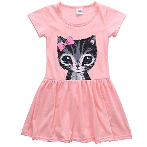 Yinew Mädchen Katze Kleid Rock Bindung Bogen Katze Druck Kleid Kinder Rock Kinder Katze Rock Pink 120cm