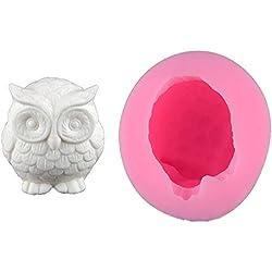 3d diseño de búho decoración de pasteles fondant molde de silicona