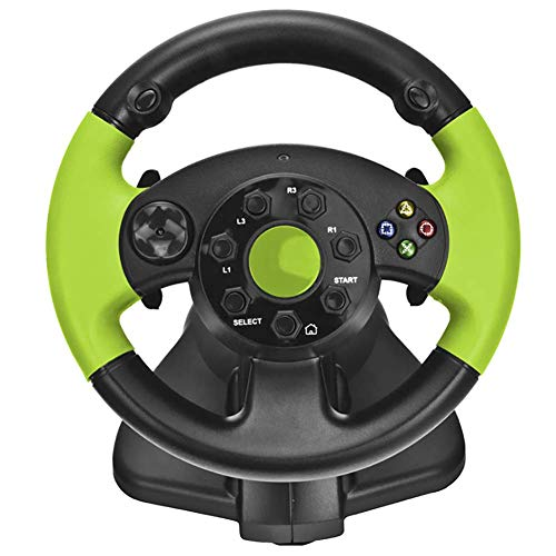 Coolol Racing Wheel - USB Gaming Lenkrad für PC, 270 ° Racing Lenkung PS4 / PS3 / PC/XBOX-ONE/XBOX-360 / Umschalter/Android-Spiellenkrad,Green (Lenkrad Green Racing)