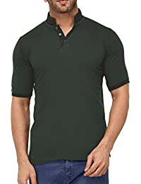 9Zeus Half Sleeve Slim Fit 100% Cotton Green With Collar T-shirt For Men