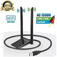 Chiave WiFi Dongle Adattatore Antenna USB per PC Wireless AC 1200 Mbps 5 GHz / 867 Mbps 2,4 GHz / 300 Mbps Dual Band 5dBi Rete Windows XP/Vista / 7/8/10 Mac OS con Cavo di prolunga