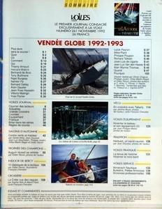 VOILES ET VOILIERS N? 261 du 01-11-1992 SOMMAIRE - VENDEE GLOBE 1992-1993 - VOILES JOURNAL - COURRIER DES LECTEURS - ACTUALITES - GRANDE CROISIERE - COURSES - EQUIPEMENT - PRATIQUE - BRISE DANS LES SERIES - REGLES DE COURSE - SALONS D'AUTOMNE - CONTRE VENTS ET MAREES PAR DANIEL ALLISY - JEAN DOUSSET - JEAN-LUC GOURMELEN - PHILIPPE JOUBIN - GILLES MARTIN-RAGET ET DIDIER RAVON - TROPHEE DES CHAMPIONS - AUGUIN REUSSIT SA RENTREE PAR DIDIER RAVON - INDOOR DE BERCY - 10 CLASSIQUES DE LA TACTIQUE P...