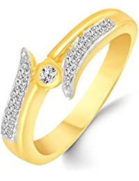 Classic Glittering Diamond Studded Gold Plated Alloy Cz American Diamond Finger Ring For Women & Girl [CJFR1276G]