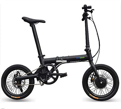 Ebike plegable mini de 16 pulgadas - Bicicleta de montaña eléctrica híbrida - Guardabarros Batería de iones de litio (motor...