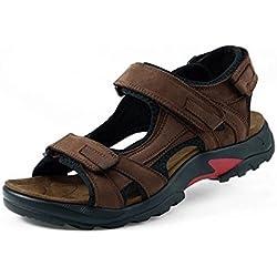GenialES Sandalias de Marcha Playa para Hombre de Cuero con Velcro Ajustable Men's Sandals Marrón Talla 46