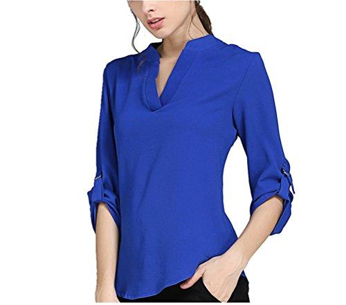 Oudan Chic Chemisier Mousseline Femme Manches Longues Fluide Blouse Col V T-Shirt Tops Pour Casual OL Soiree Bleu