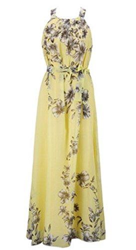 SHUNLIU Damen Chiffon Sommerkleid Ärmellose Blumen Maxikleid Elegant Partykleid Strandkleid Cocktailkleid Abendkleid Gelb
