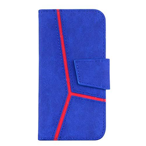 iPhone 7/8 Hülle, DENDICO Leder Handyhülle Wallet Case für Apple iPhone 7/8 Schutzhülle Klapphülle mit Magnetic Snap und Kartensteckplätze - Blau Handy-fall-snap