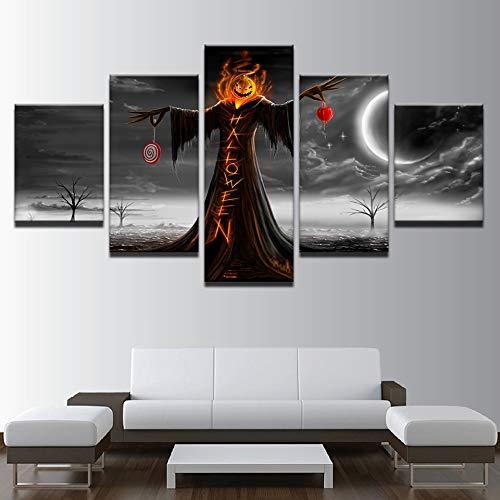 Vlies Leinwandbild Design Wand Bild Dekorative Malerei Fünf Stück Kürbis Halloween Haus Klar Bett Kopf, 30X40Cmx2 30X60Cmx2 30X80Cmx1