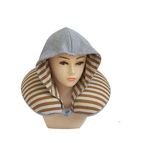 Baumwolle Kapuzen-mütze (COVEREETY Speicher-Baumwolle, U-förmige Kissen Mit Mütze, Kapuze Reise Halskissen, Speicher Baumwolle Langsam Rebound Halskissen)