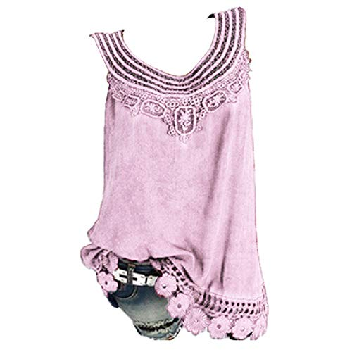 Damen Tank Tops Solid Shirts ärmellos Workout Bluse Lose Tank weich bequem Camisoles Tee L rose -